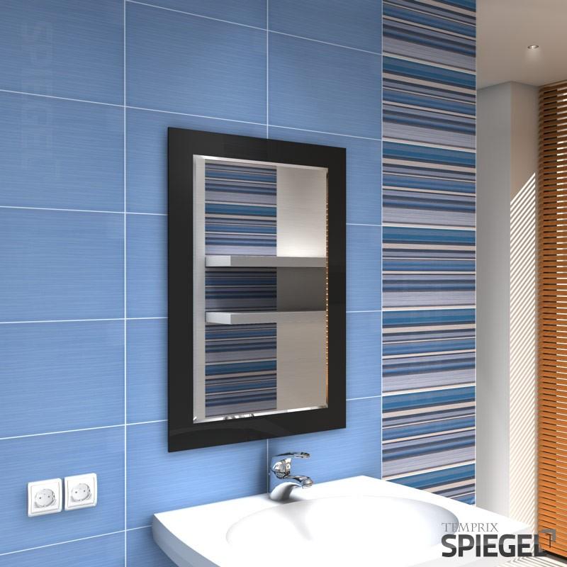 wandspiegel schwarz mit rahmen spiegel modern badspiegel 79 x 55 cm ferro black ebay. Black Bedroom Furniture Sets. Home Design Ideas