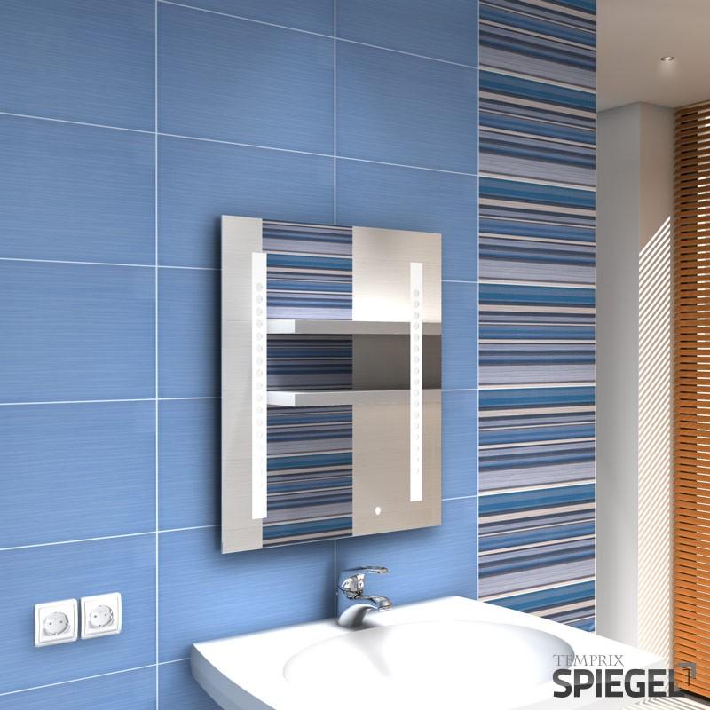 badspiegel mit licht beleuchtet badezimmerspiegel 60 x 50 cm spiegel lokki ebay. Black Bedroom Furniture Sets. Home Design Ideas