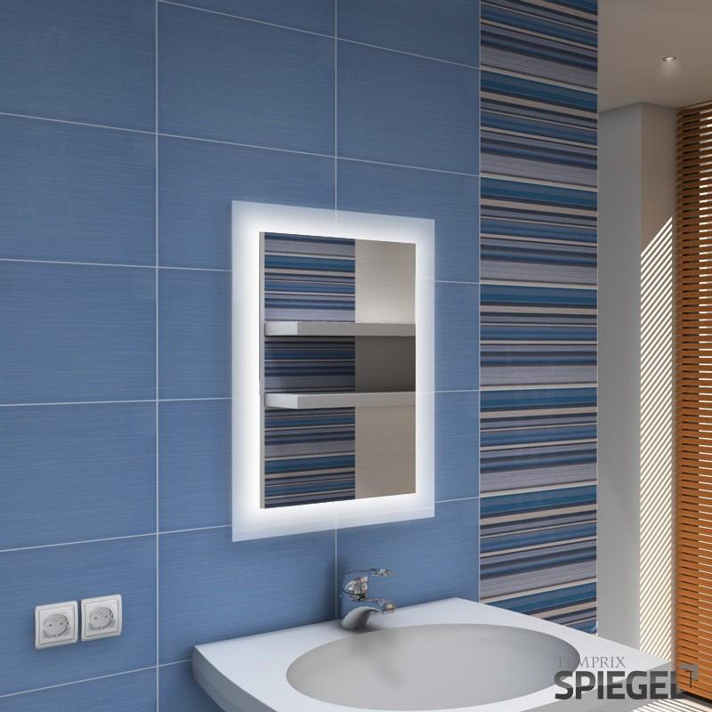 badezimmerspiegel mit beleuchtung led badspiegel spiegel 66 x 50 cm vittorio ebay. Black Bedroom Furniture Sets. Home Design Ideas